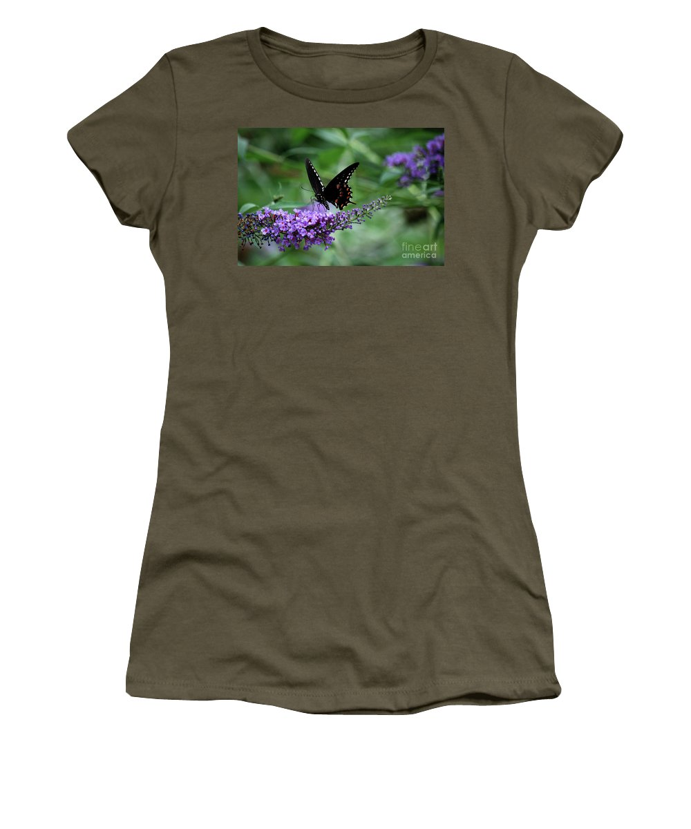 Butterfly Women's T-Shirt featuring the photograph Black Butter by Lori Tambakis