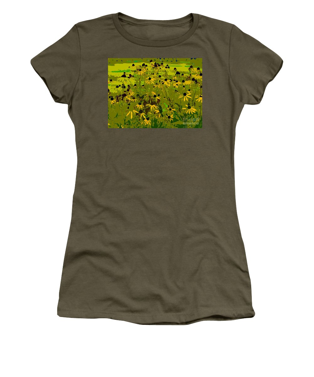 Black Eyed Susan Women's T-Shirt (Athletic Fit) featuring the photograph Black Eyed Susan Work Number 21 by David Lee Thompson