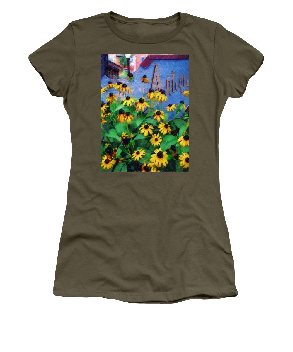 Flowers Women's T-Shirt (Athletic Fit) featuring the photograph Black-eyed Susans At The Bag Factory by Sandy MacGowan