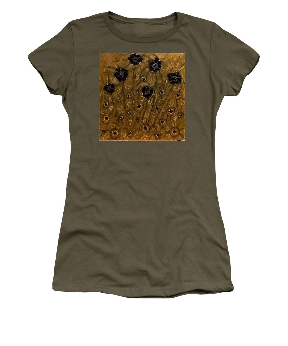 Women's T-Shirt featuring the painting Black Flowers by David Burton-Richardson