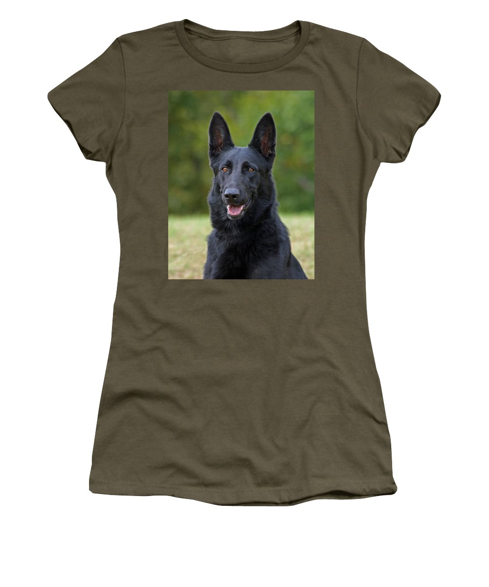 German Shepherd Women's T-Shirt (Athletic Fit) featuring the photograph Black German Shepherd Dog by Sandy Keeton