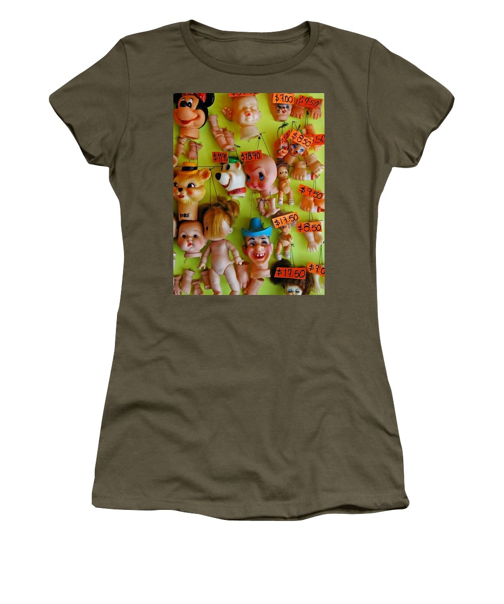 Heads Women's T-Shirt (Athletic Fit) featuring the photograph Black Market Parts by Skip Hunt