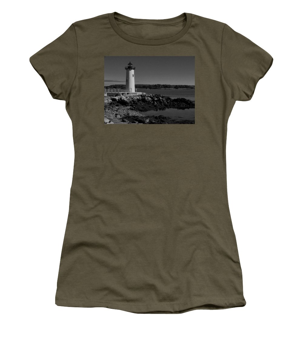Portsmouth Harbor Lighthouse Women's T-Shirt (Athletic Fit) featuring the photograph Black N White-portsmouth Harbor Lighthouse by Nancie DeMellia