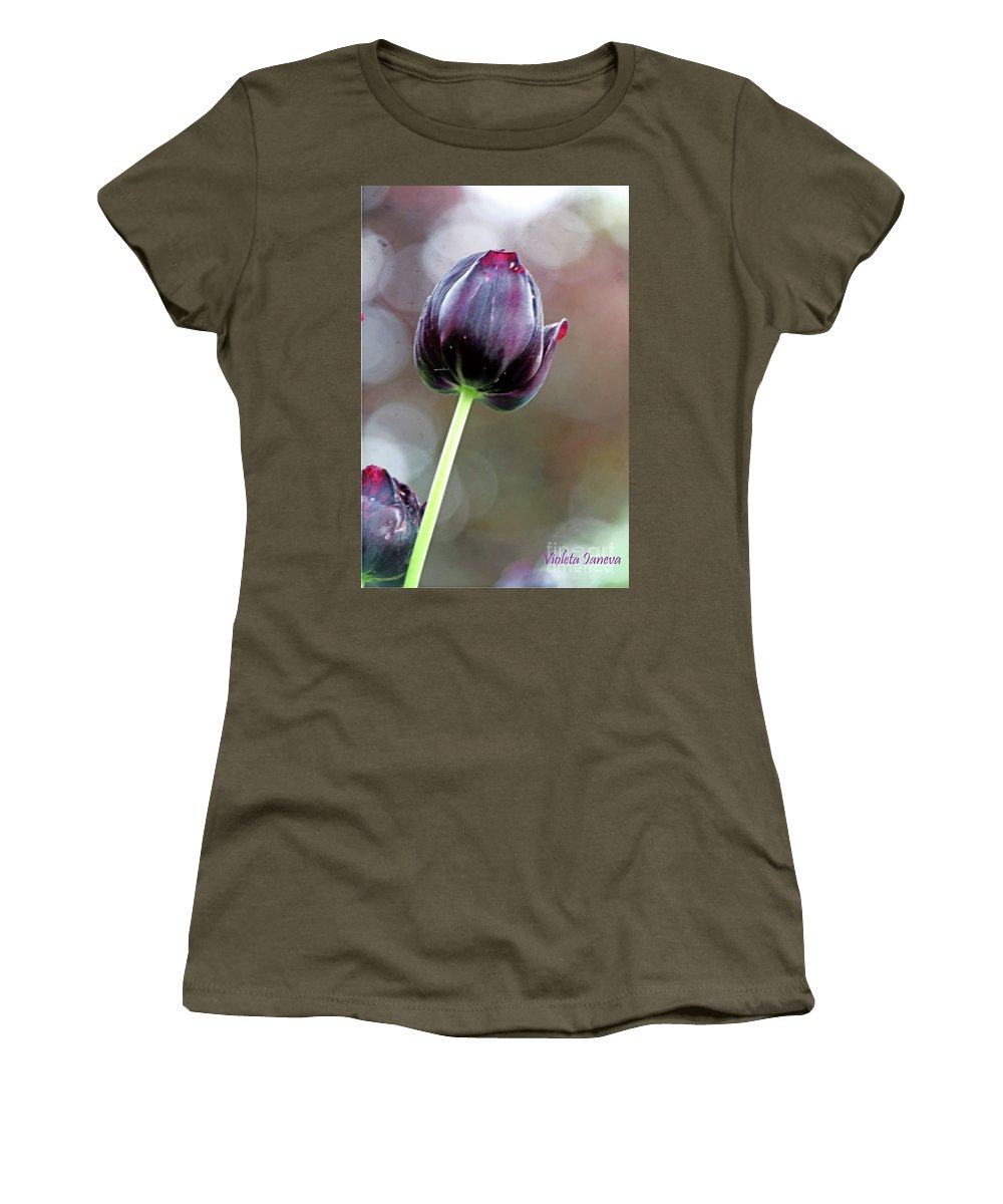 Flower Women's T-Shirt featuring the photograph Black Tulip by Violeta Ianeva