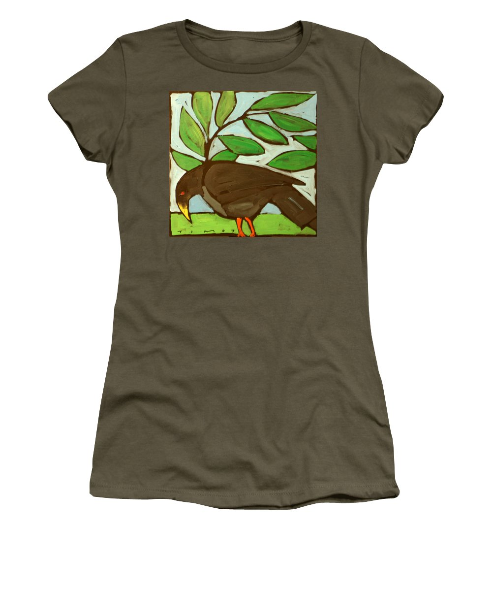 Bird Women's T-Shirt (Athletic Fit) featuring the painting Blackbird by Tim Nyberg