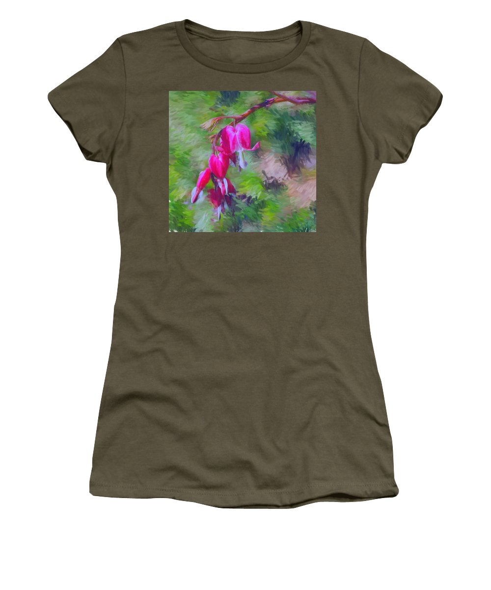Daffodil Women's T-Shirt (Athletic Fit) featuring the photograph Bleeding Heart by David Lane