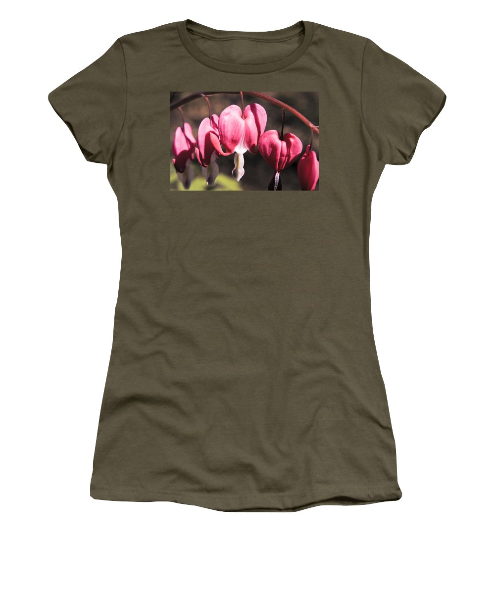 Bleeding Women's T-Shirt featuring the photograph Bleeding Hearts by Teresa Mucha