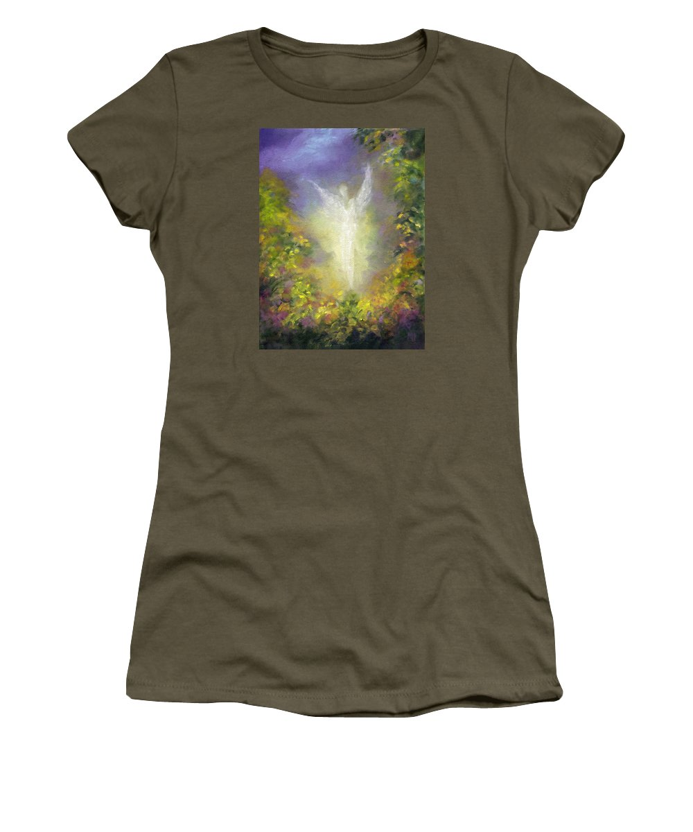 Angel Women's T-Shirt (Athletic Fit) featuring the painting Blessing Angel by Marina Petro