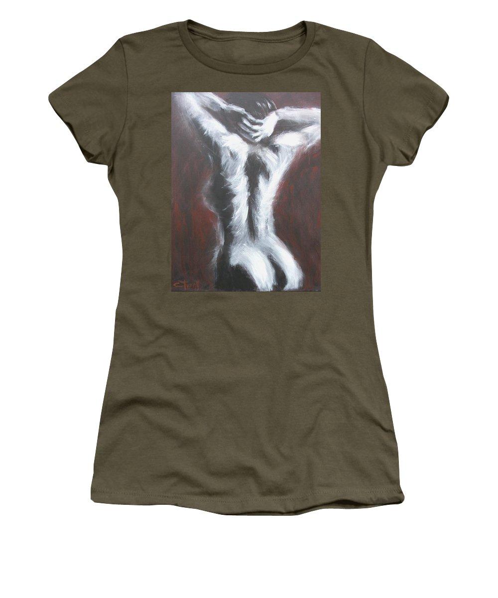 Original Women's T-Shirt featuring the painting Bliss by Carmen Tyrrell