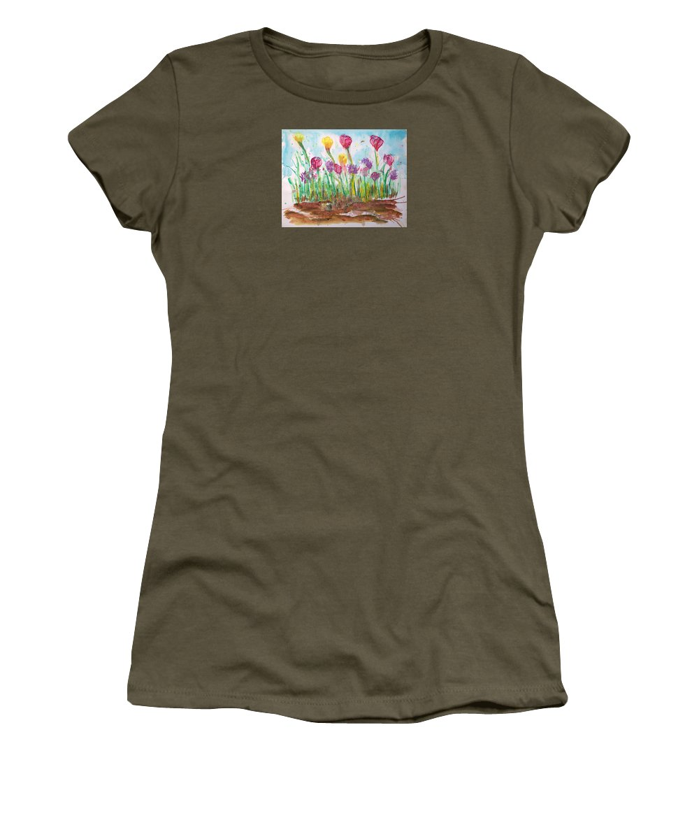 Flowers Women's T-Shirt featuring the painting Blooming Colors by J R Seymour