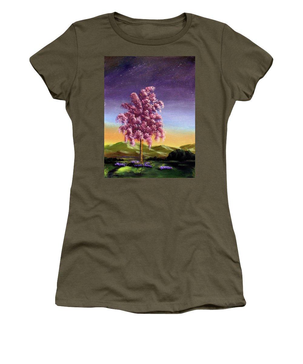 Dawn Blair Women's T-Shirt featuring the painting Blossoming by Dawn Blair