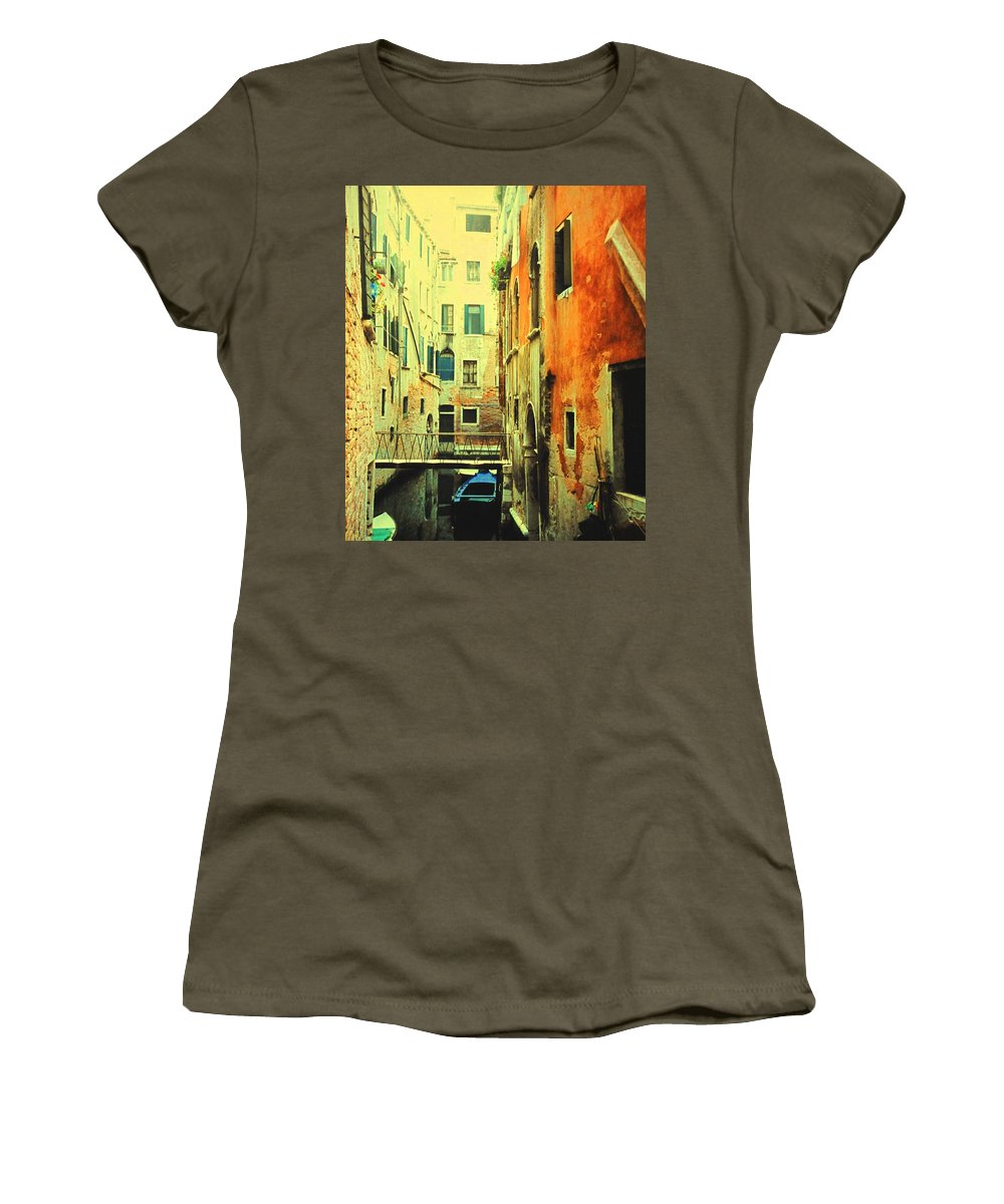 Venice Women's T-Shirt (Athletic Fit) featuring the photograph Blue Boat In Venice by Ian MacDonald