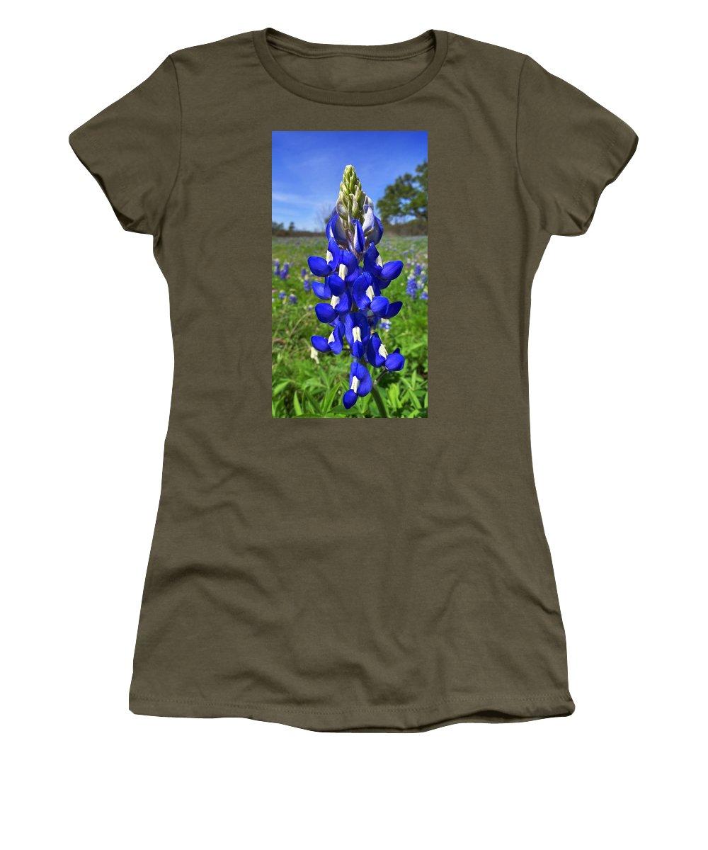Blue Bonnet Women's T-Shirt featuring the photograph Blue Bonnet by Skip Hunt