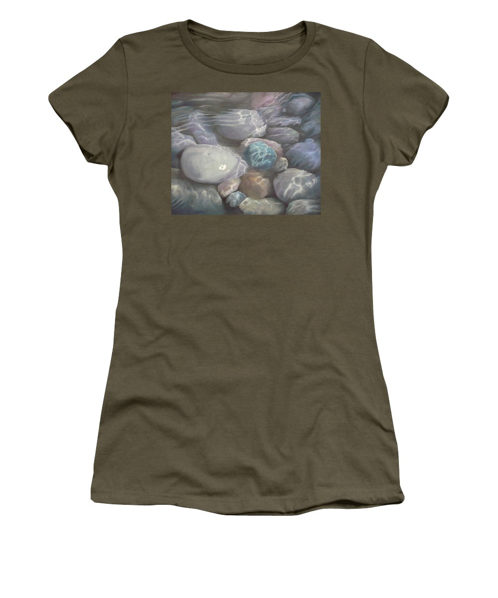 Pebbles Water Oil Blue Sea Underwater Women's T-Shirt featuring the painting Blue Calm by Caroline Philp