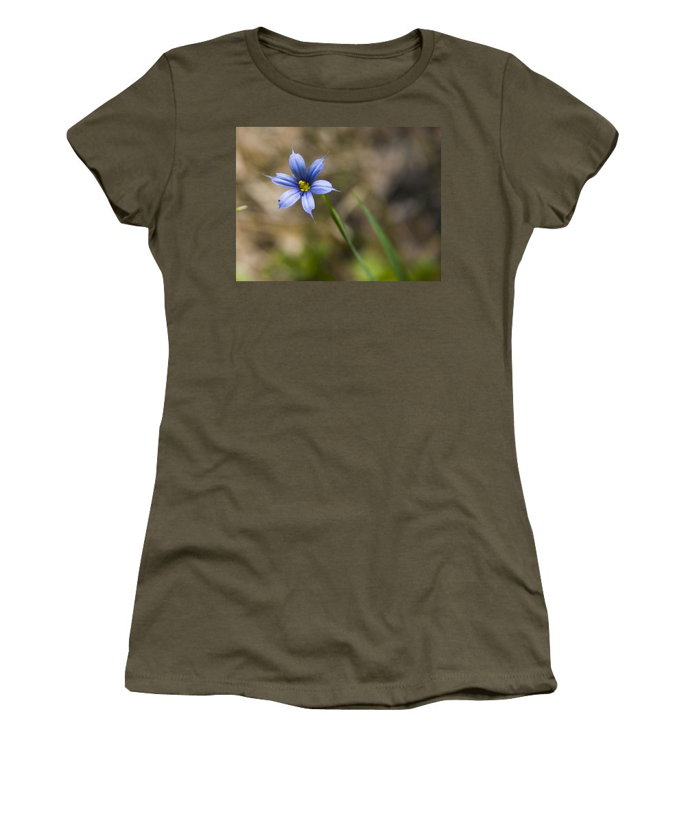 Flower Blue Grass Green Small Little Bright Color Colorful Yellow Flora Nature Women's T-Shirt (Athletic Fit) featuring the photograph Blue-eyed Grass II by Andrei Shliakhau