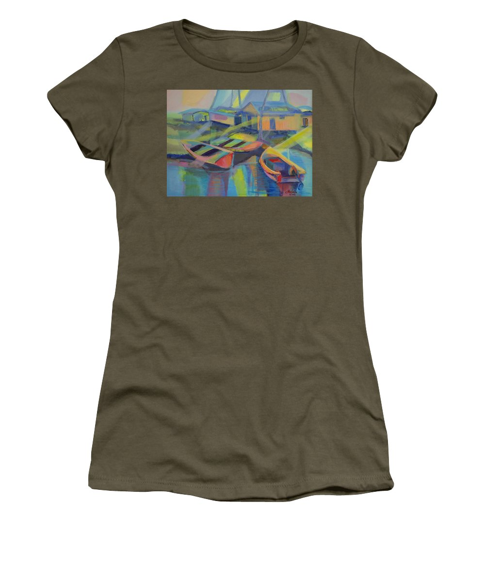 Blue Women's T-Shirt (Athletic Fit) featuring the painting Blue Fishing Village by Cynthia McLean