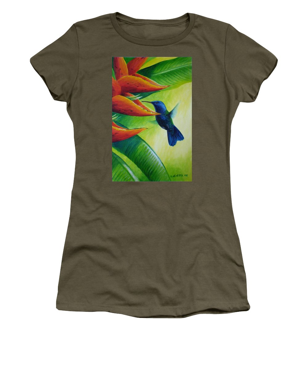 Blue-headed Hummingbird Women's T-Shirt (Athletic Fit) featuring the painting Blue-headed Hummingbird by Christopher Cox