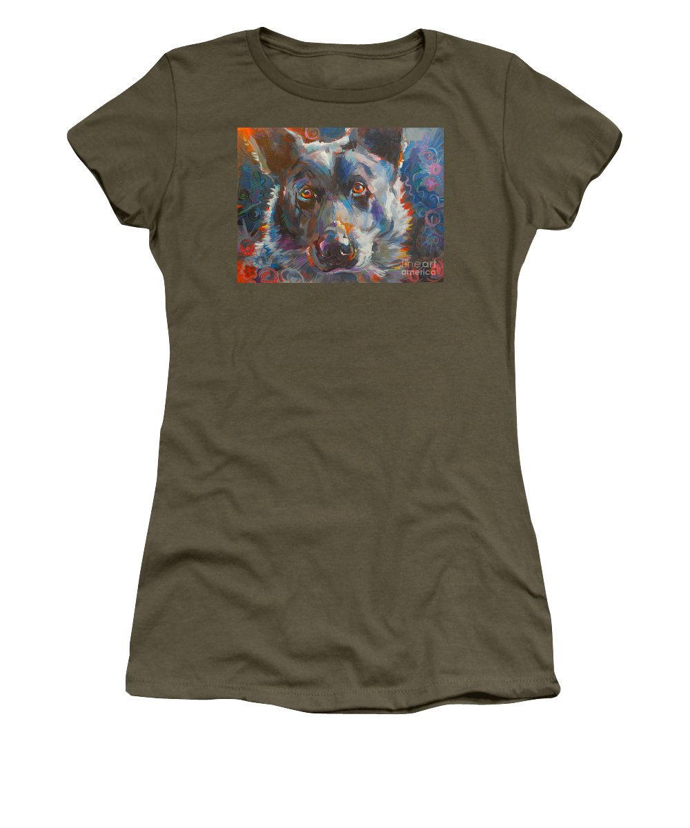 Finnigan Women's T-Shirt featuring the painting Blue Heeler by Kimberly Santini