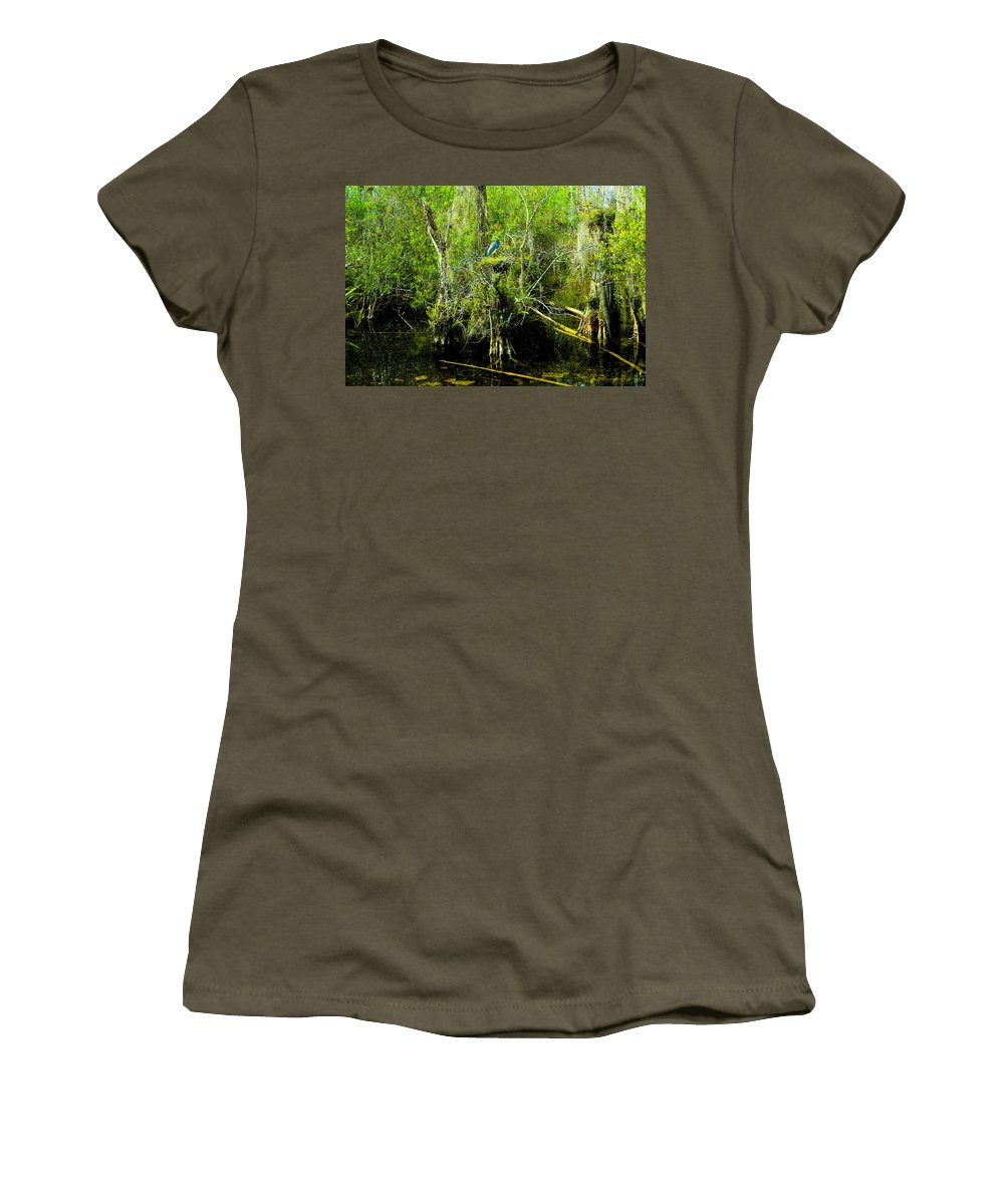 Art Women's T-Shirt featuring the painting Blue Heron by David Lee Thompson