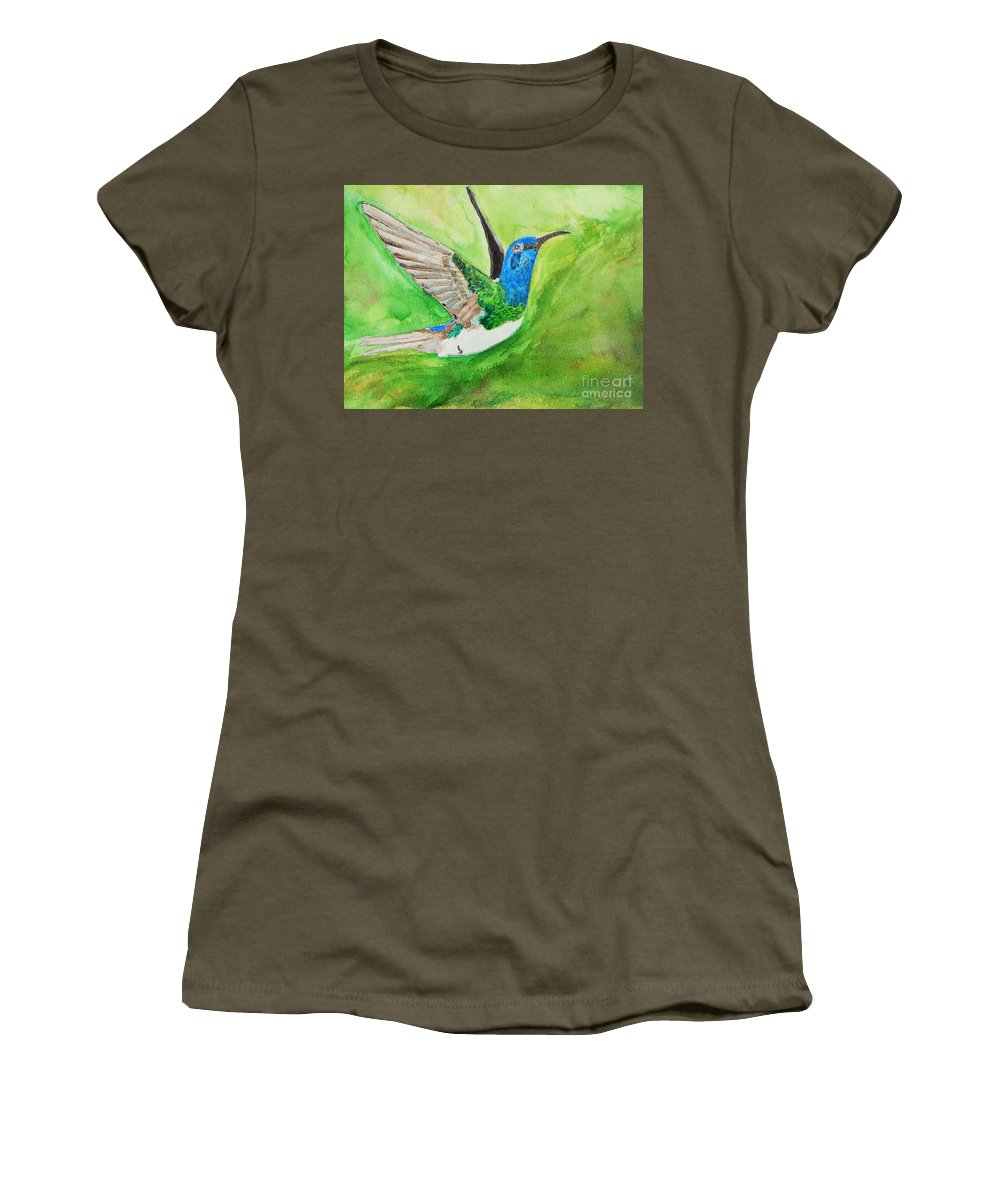 Humming Bird Women's T-Shirt (Athletic Fit) featuring the painting Blue Humming Bird by Barbara King