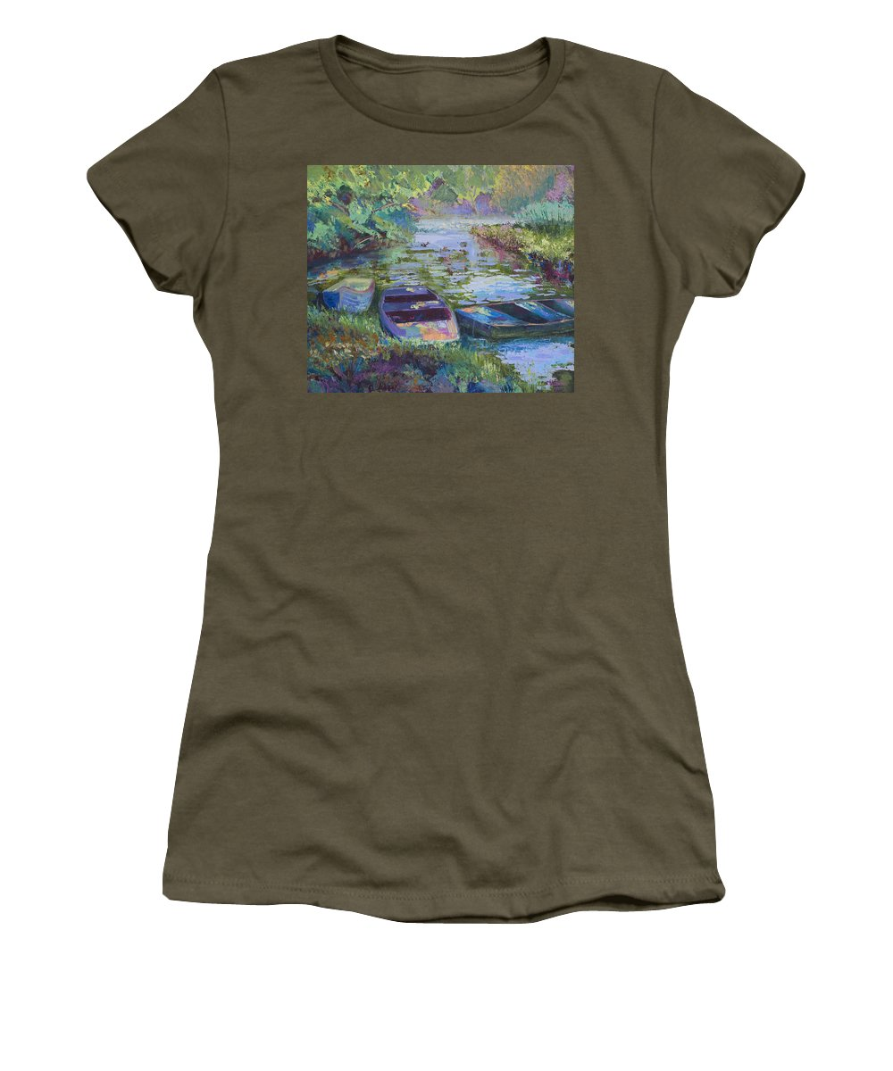 Blue Women's T-Shirt (Athletic Fit) featuring the painting Blue Pond by Cynthia McLean
