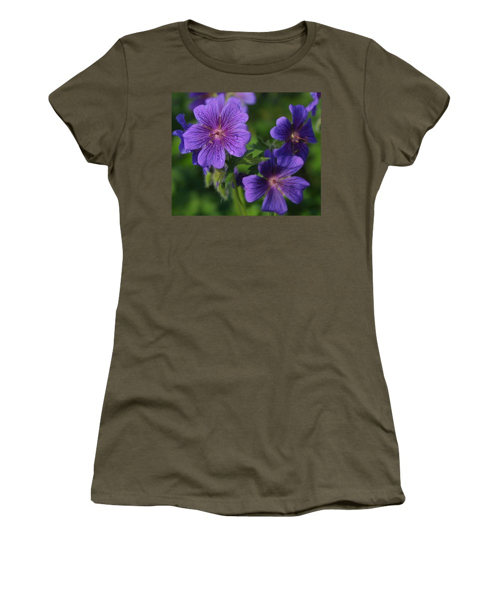 Blue Women's T-Shirt (Athletic Fit) featuring the photograph Blue Raindrops by Ian MacDonald