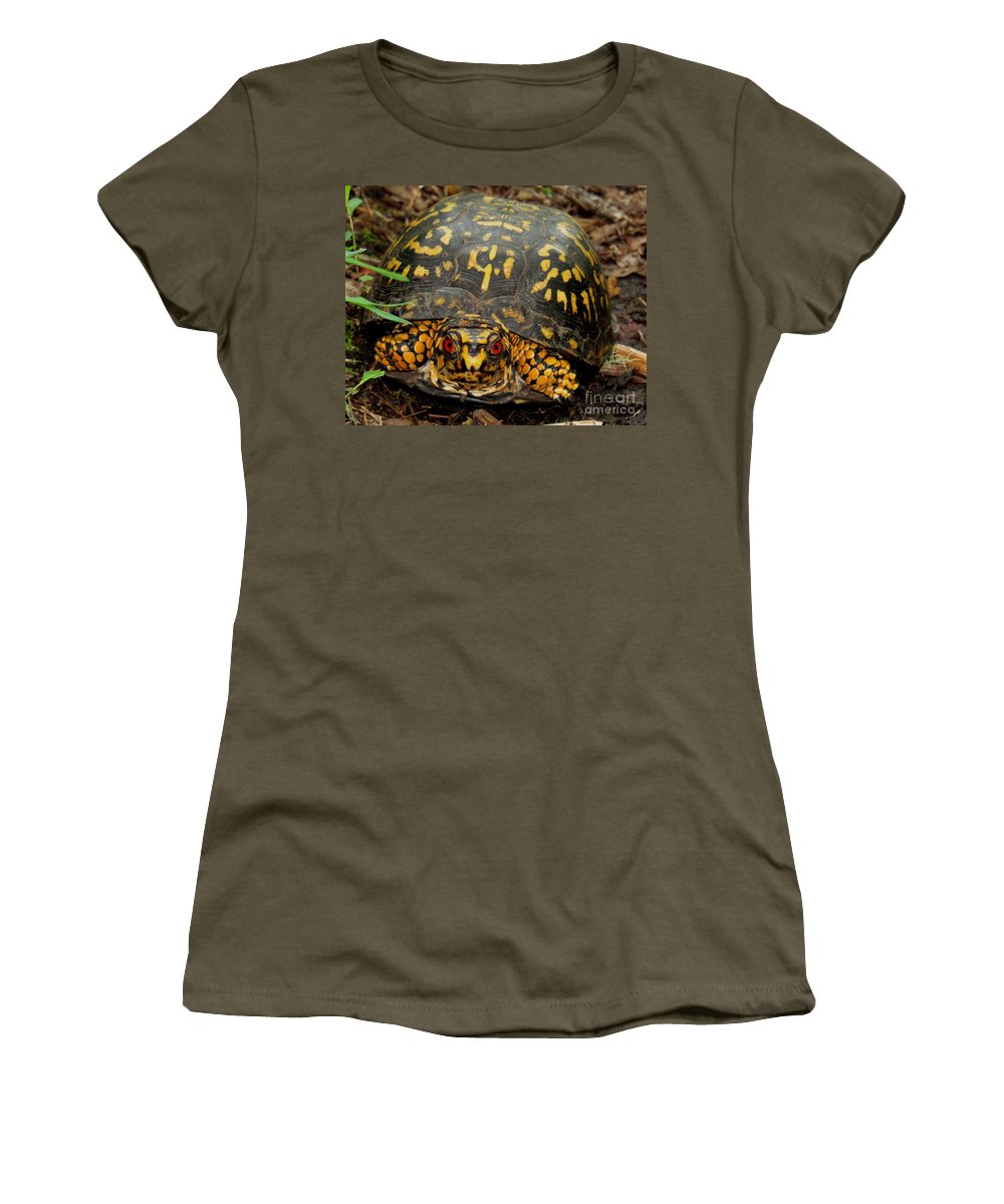 Blue Ridge Box Turtle Appalachian Reptiles Appalachian Turtle Species Appalachian Biodiversity Black And Yellow Turtle Terrestrial Turtle Species North American Turtles North American Reptiles Life On Earth Iconic Wildlife Species Women's T-Shirt featuring the photograph Blue Ridge Box Turtle by Joshua Bales