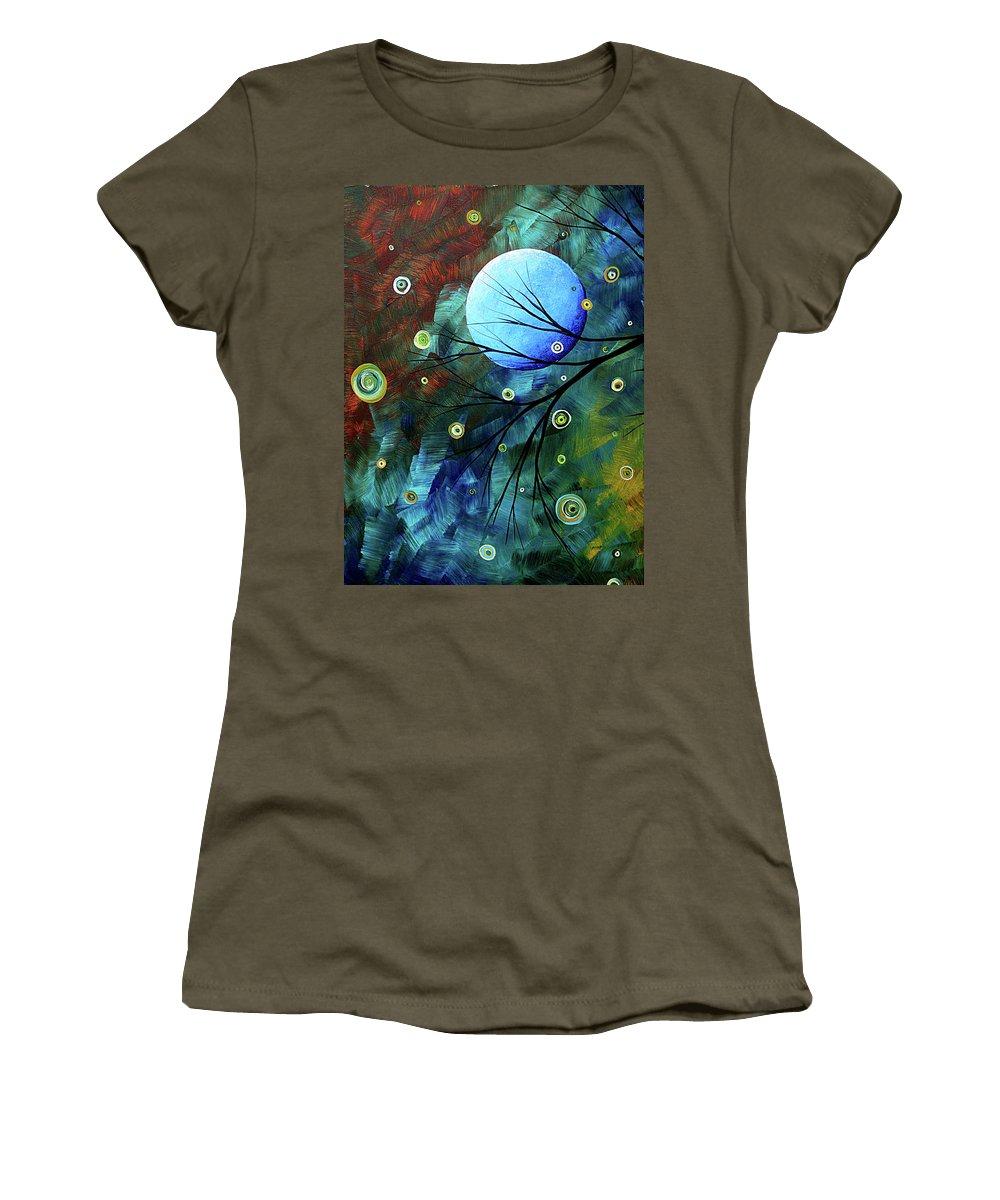 Art Women's T-Shirt featuring the painting Blue Sapphire 1 By Madart by Megan Duncanson