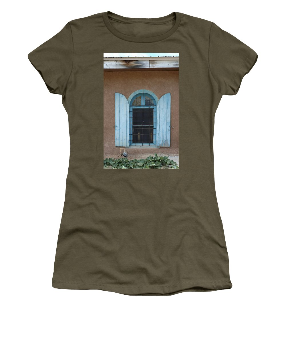 Adobe Women's T-Shirt (Athletic Fit) featuring the photograph Blue Shutters by Jerry McElroy
