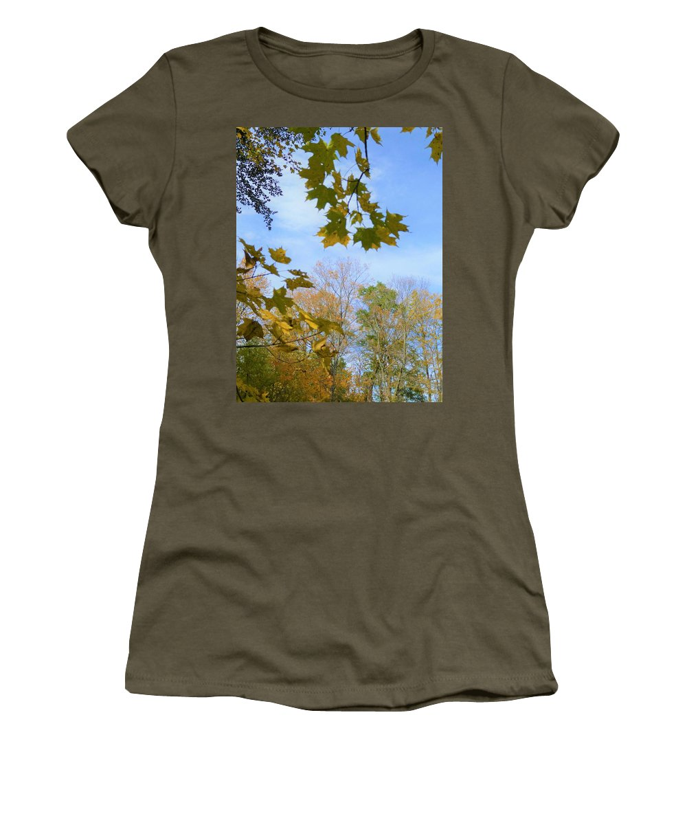 Spencer Gorge Ontario Autumn Leaves Yellow Women's T-Shirt featuring the photograph Blue Skies Ahead by The Sangsters