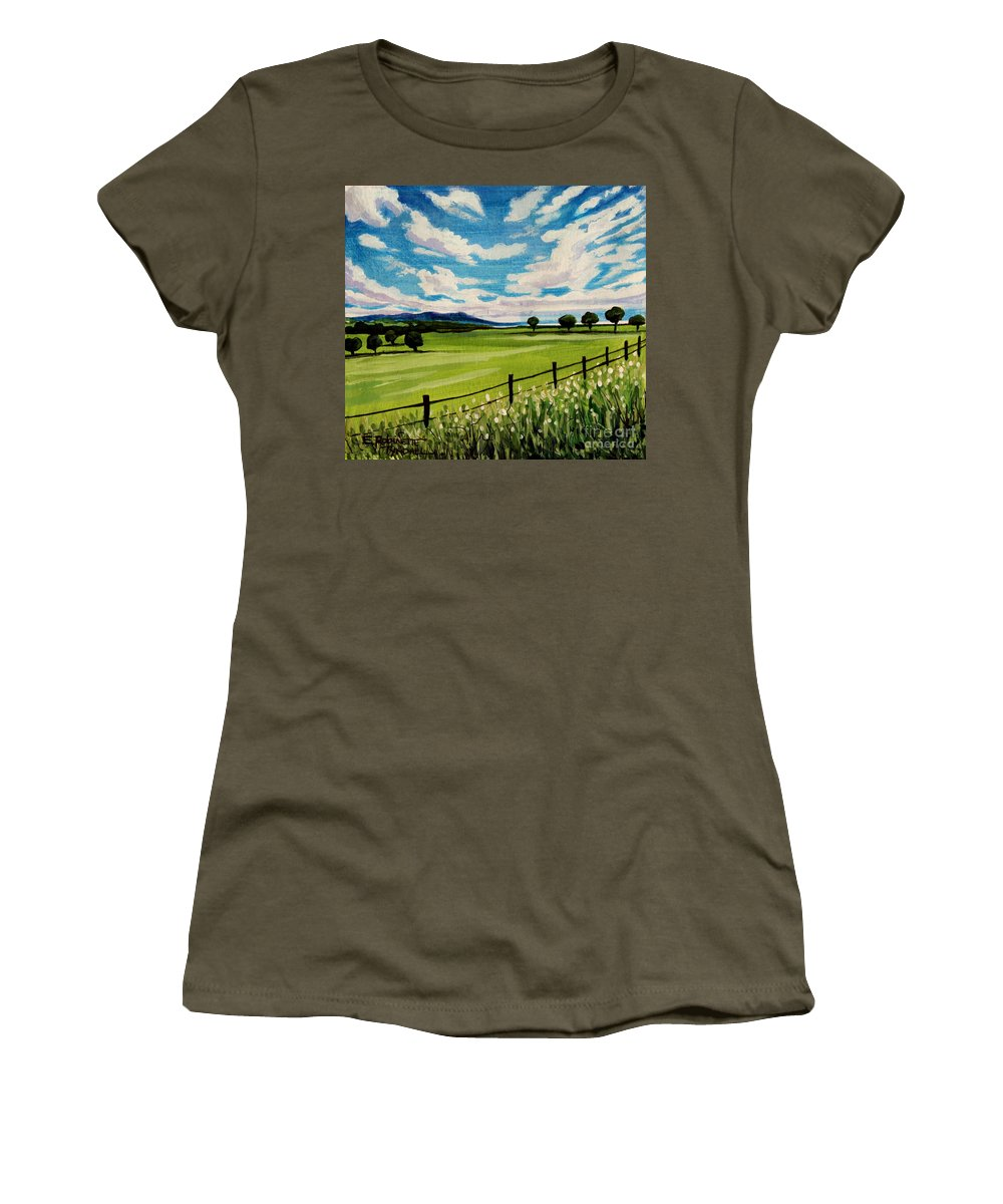 Landscape Women's T-Shirt featuring the painting Blue Skies by Elizabeth Robinette Tyndall