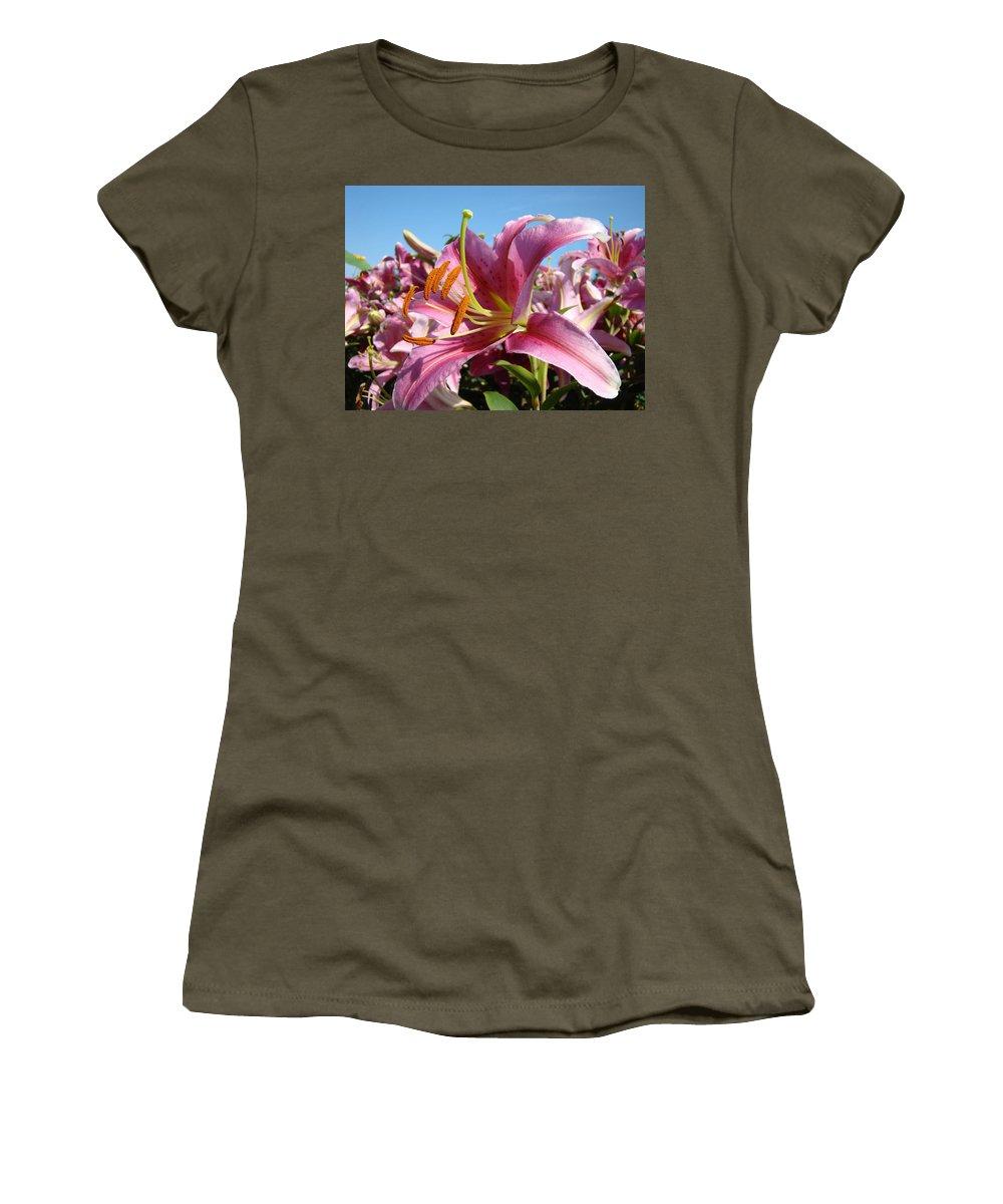 Lilies Women's T-Shirt featuring the photograph Blue Sky Floral Landscape Pink Lilies Art Prints Canvas Baslee Troutman by Baslee Troutman