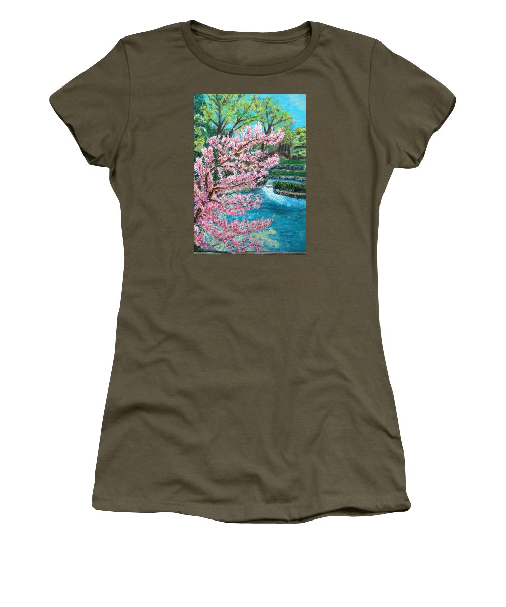 Blue Spring Women's T-Shirt (Athletic Fit) featuring the painting Blue Spring by Carolyn Donnell