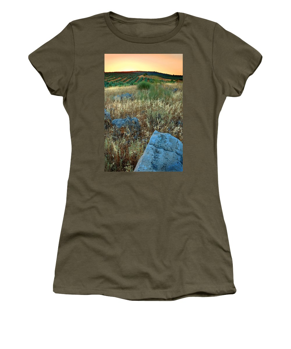 Iznajar Women's T-Shirt (Athletic Fit) featuring the photograph blue stones amongst the olive groves near Iznajar Andalucia Spain by Mal Bray