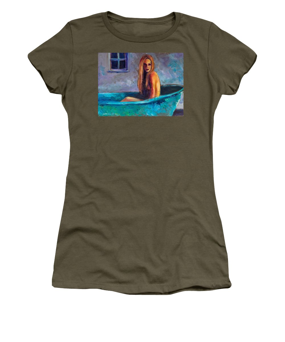 Nude Women's T-Shirt featuring the painting Blue Tub Study by Jason Reinhardt