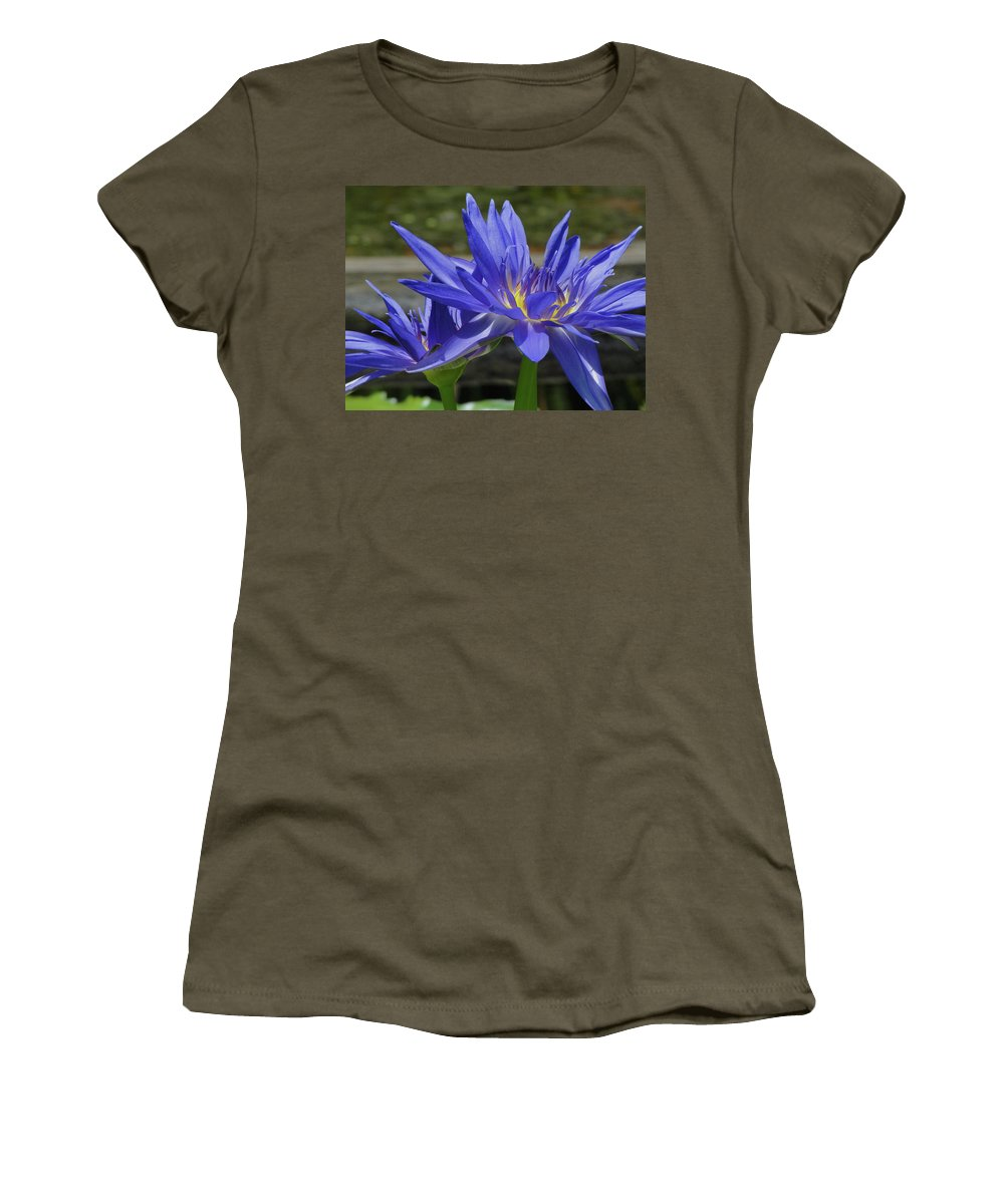 Flower Women's T-Shirt featuring the photograph Blue Water Lily by Cathi Abbiss Crane