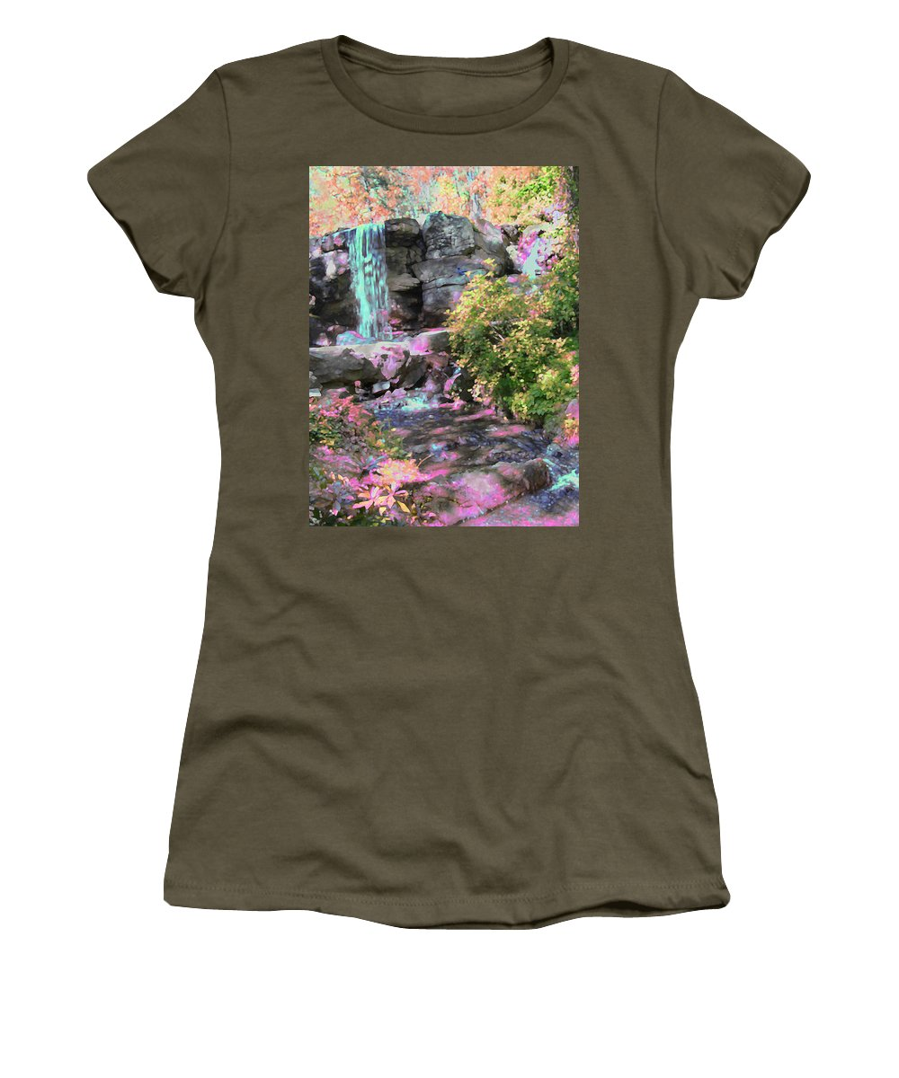 Waterfall Women's T-Shirt (Athletic Fit) featuring the photograph Blue Waterfall by Anne Cameron Cutri