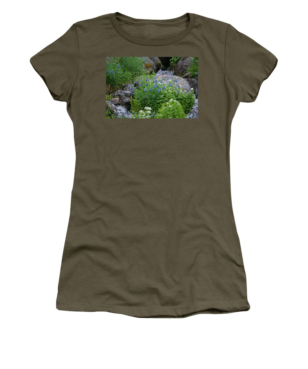 Wildflowers Women's T-Shirt (Athletic Fit) featuring the photograph Bluebells by Heather Coen