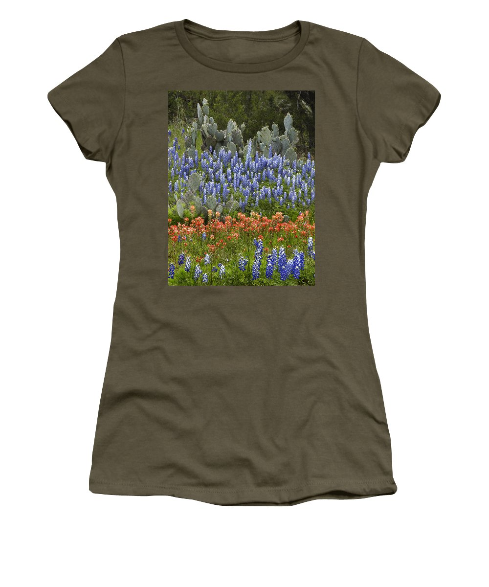 Mp Women's T-Shirt featuring the photograph Bluebonnet Paintbrush And Prickly Pear by Tim Fitzharris
