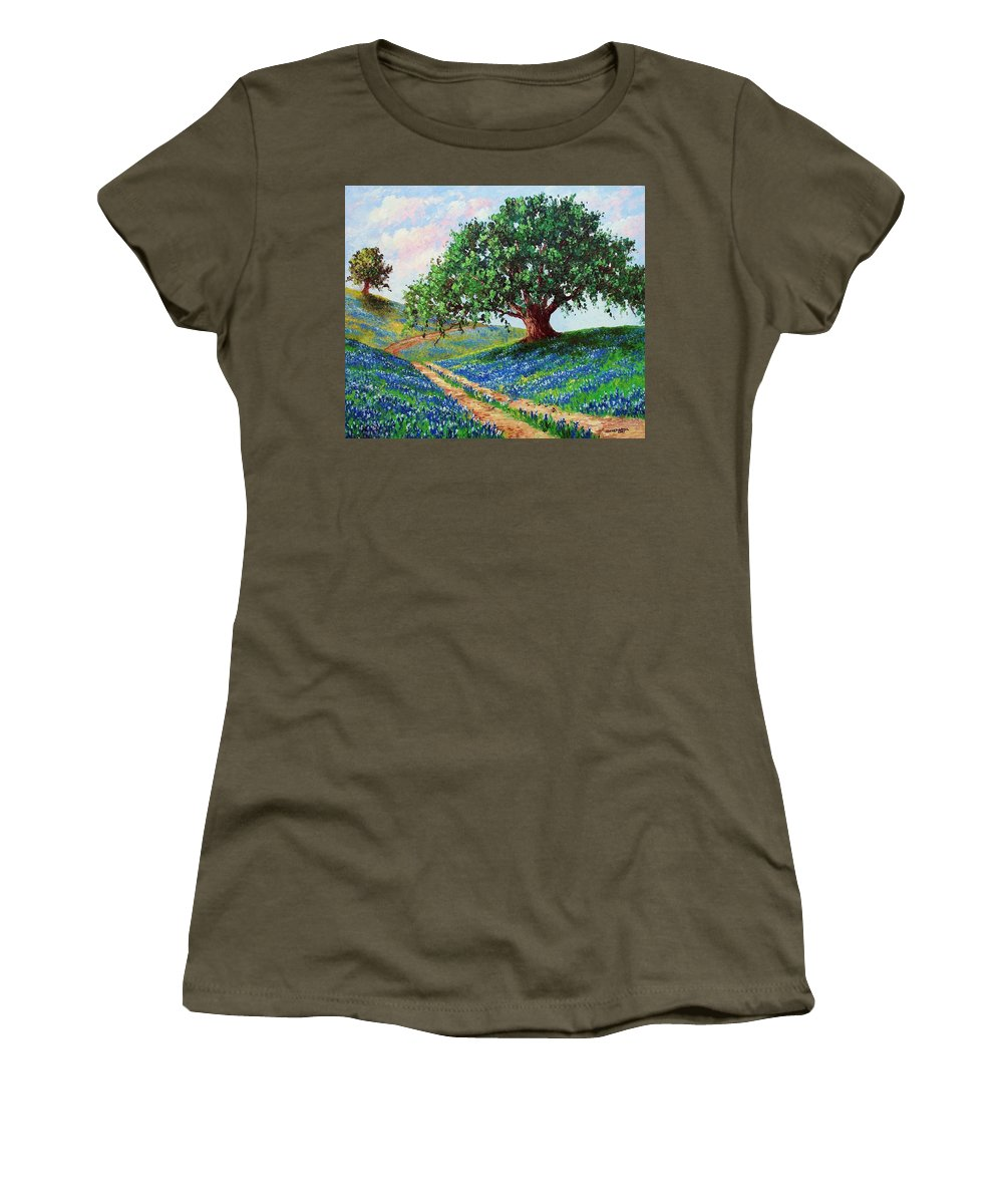 Bluebonnet Women's T-Shirt (Athletic Fit) featuring the painting Bluebonnet Road by David G Paul