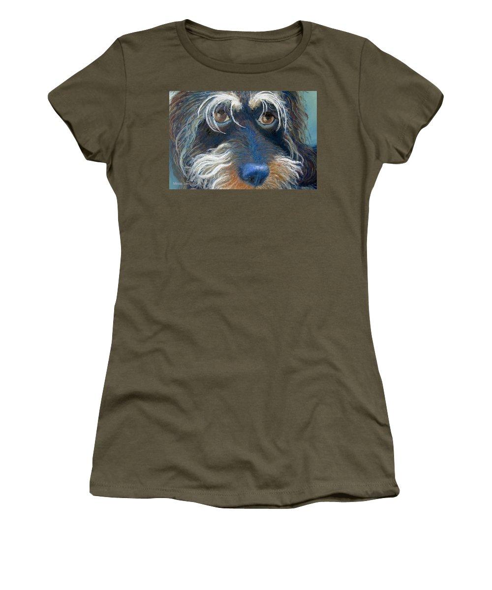 Dog Women's T-Shirt featuring the painting Bluenose by Minaz Jantz