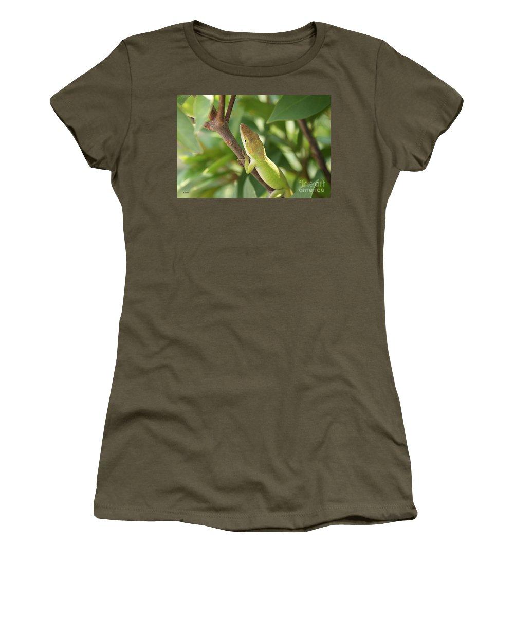 Lizard Women's T-Shirt (Athletic Fit) featuring the photograph Blusing Lizard by Shelley Jones