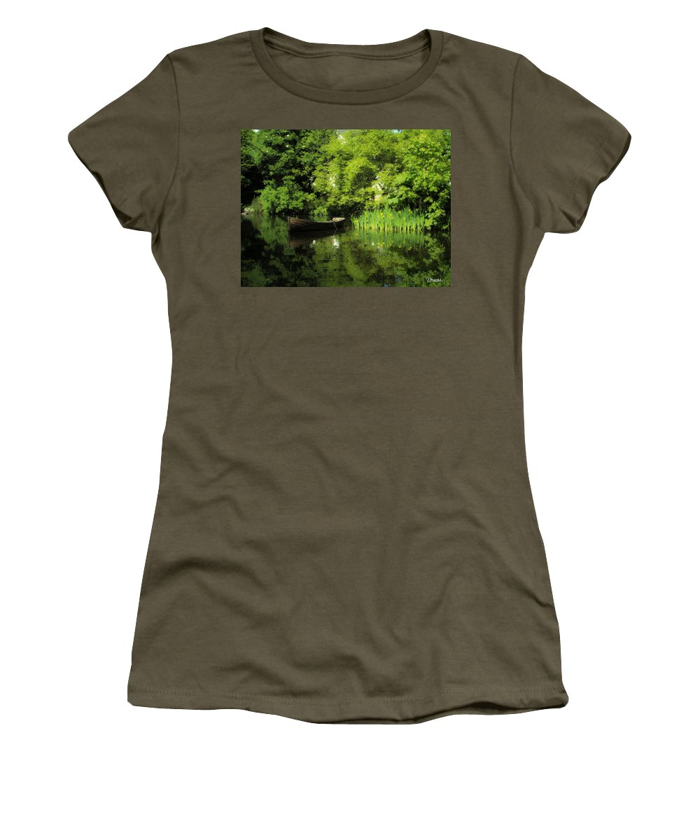 Irish Women's T-Shirt (Athletic Fit) featuring the digital art Boat Reflected On Water County Clare Ireland Painting by Teresa Mucha