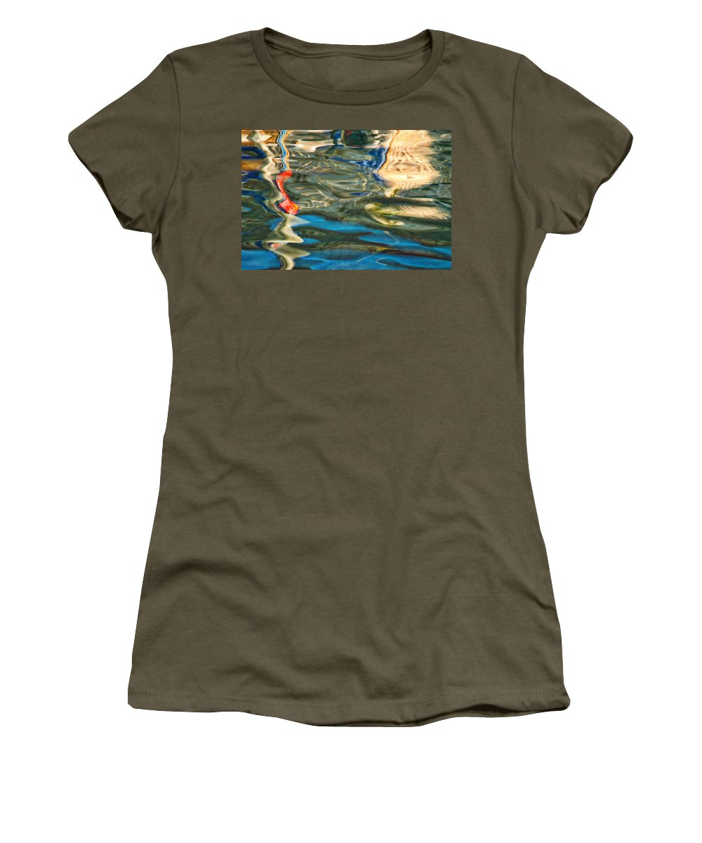 Abstract Women's T-Shirt featuring the photograph Boat Reflections - Hvar Croatia by Stuart Litoff
