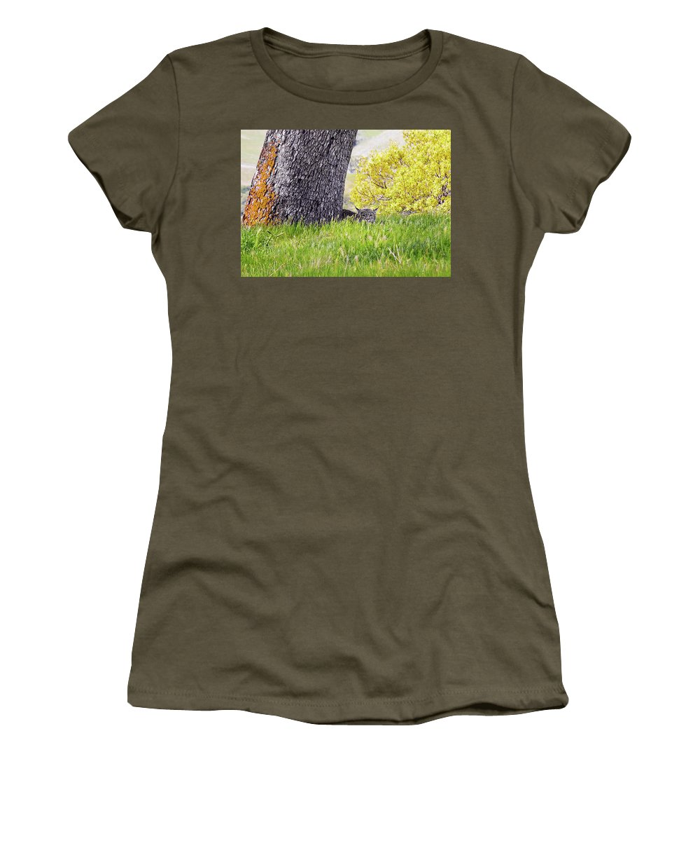 Landscape Women's T-Shirt (Athletic Fit) featuring the photograph Bobcat Watch by Karen W Meyer