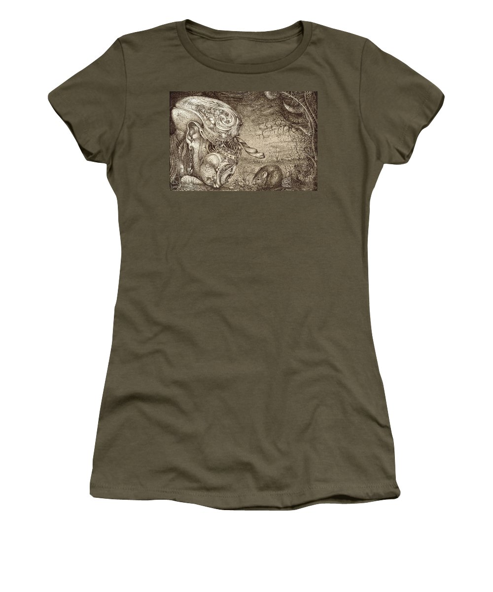 Surreal Women's T-Shirt (Athletic Fit) featuring the drawing Bogomils Mousetrap by Otto Rapp
