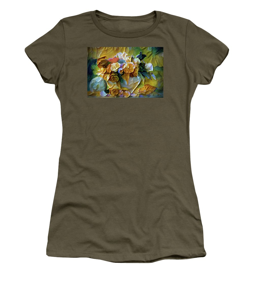 Bold Bouquet Women's T-Shirt (Athletic Fit) featuring the painting Bold Bouquet by Lilia D