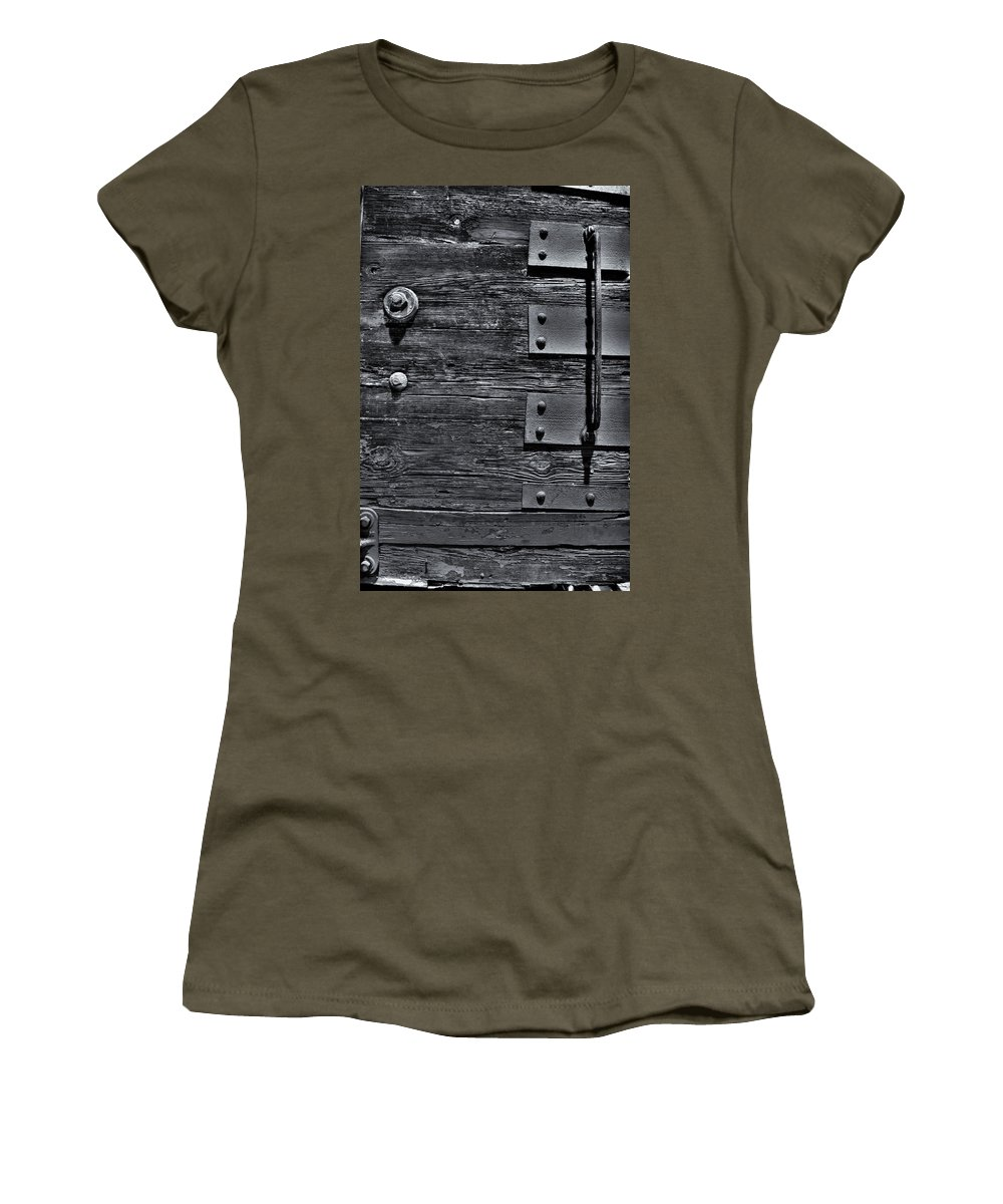 Wood Women's T-Shirt featuring the photograph Bolted Wood by Scott Wyatt