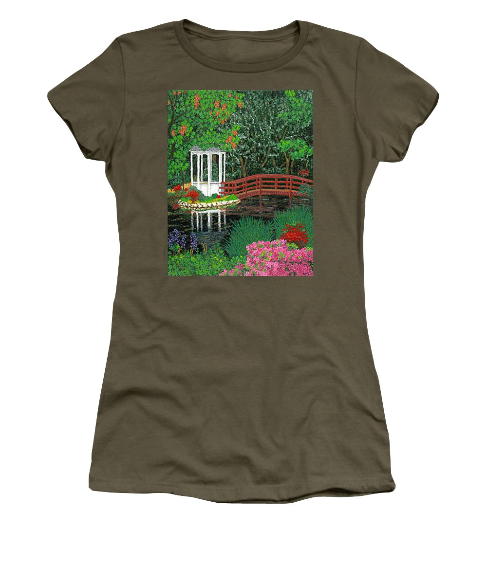 Art Women's T-Shirt (Athletic Fit) featuring the painting Botanical Garden Park Walk Pink Azaleas Bridge Gazebo Flowering Trees Pond by Baslee Troutman