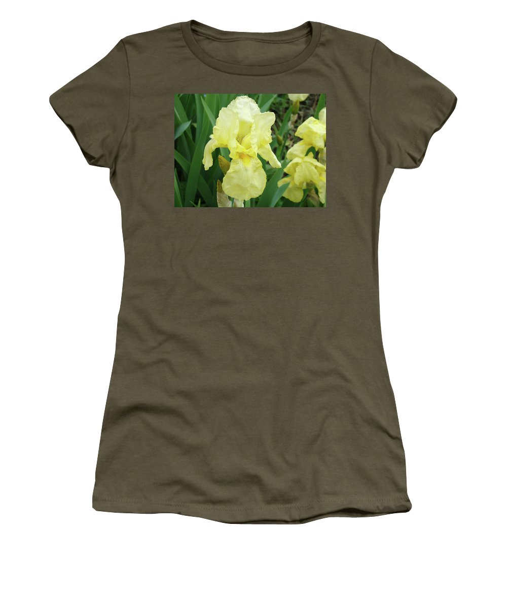 Iris Women's T-Shirt featuring the photograph Botanical Yellow Iris Flower Summer Floral Art Baslee Troutman by Baslee Troutman